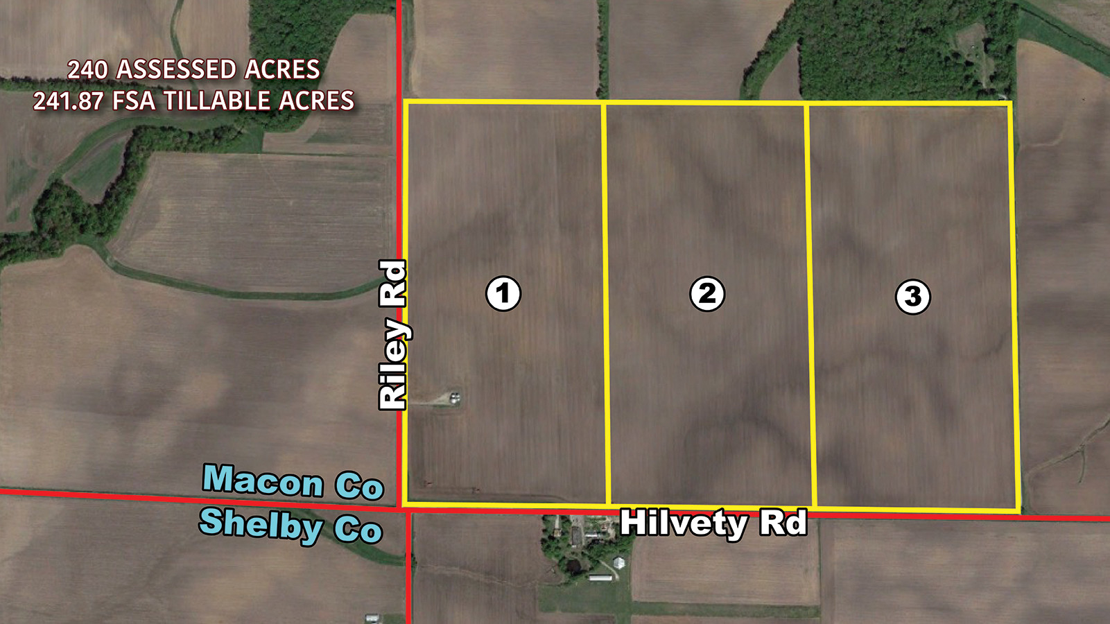 Aerial Map w Tracts - MWA Auctions & Real Estate _ Macon Co Farmland Auction 240 Ac - Dec 12 2019