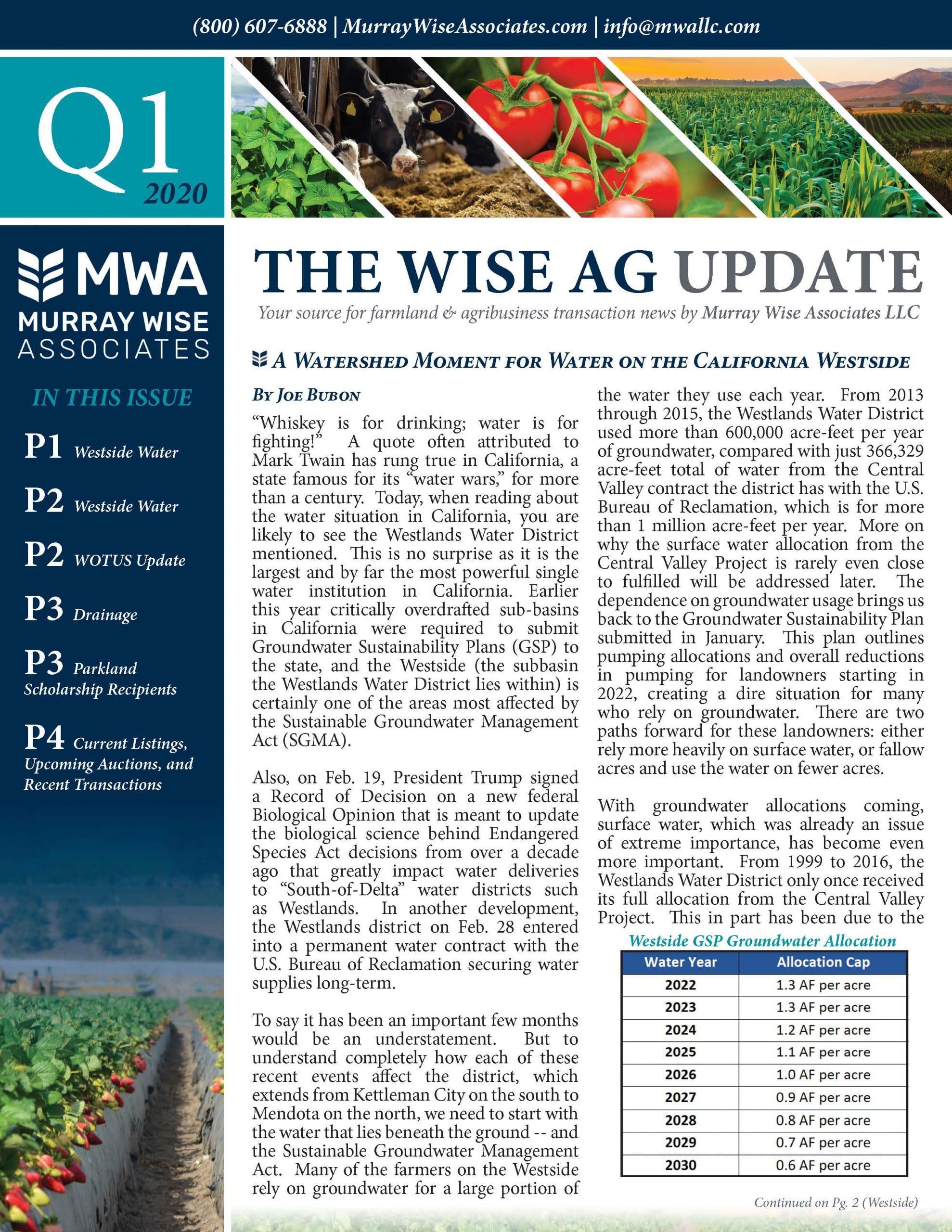 MWA Newsletter First Quarter 2020